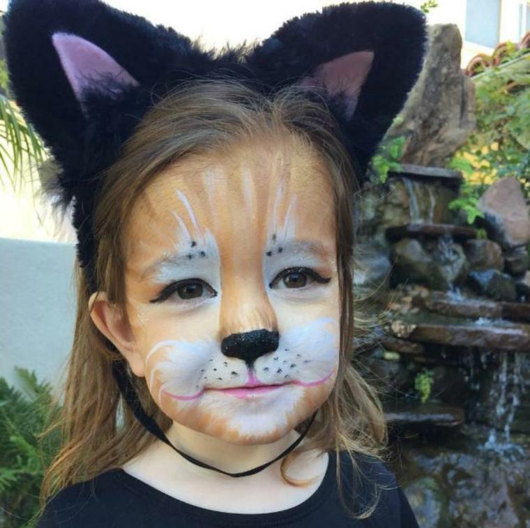 Trucchi Halloween facili, trucco da volpe, cerchietto con orecchie, travestimento da animaletto