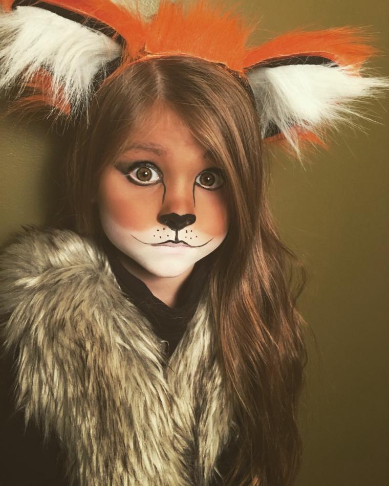 Trucchi di Halloween per bambini, bimba truccata da volpe, cerchietto con orecchie