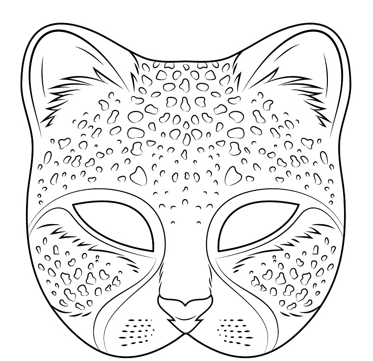 Maschere di carnevale da stampare, maschera di una pantera, disegno da colorare