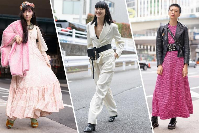 Colori moda inverno 2019, tre donne in foto, abito maxi rosa, abbigliamento autunnale donna