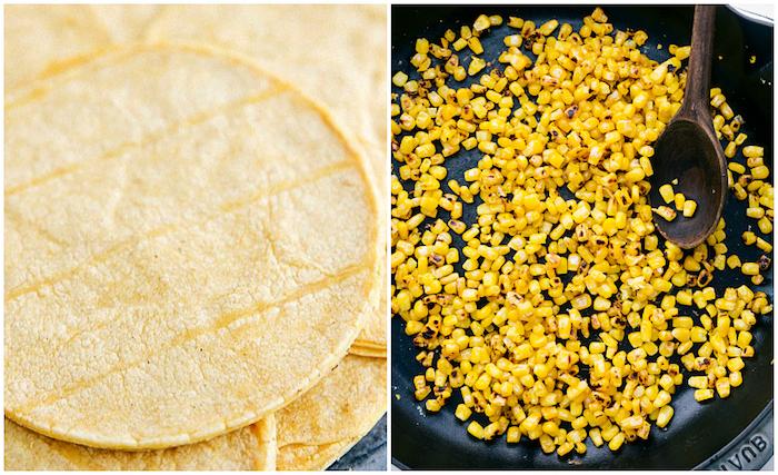 Cosa mettere nelle tortillas, soffritto con mais, tortillas rotonda di mais