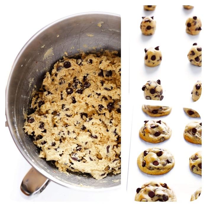 Ricetta biscotti classici, impasto con gocce di cioccolato, cookies con cioccolato