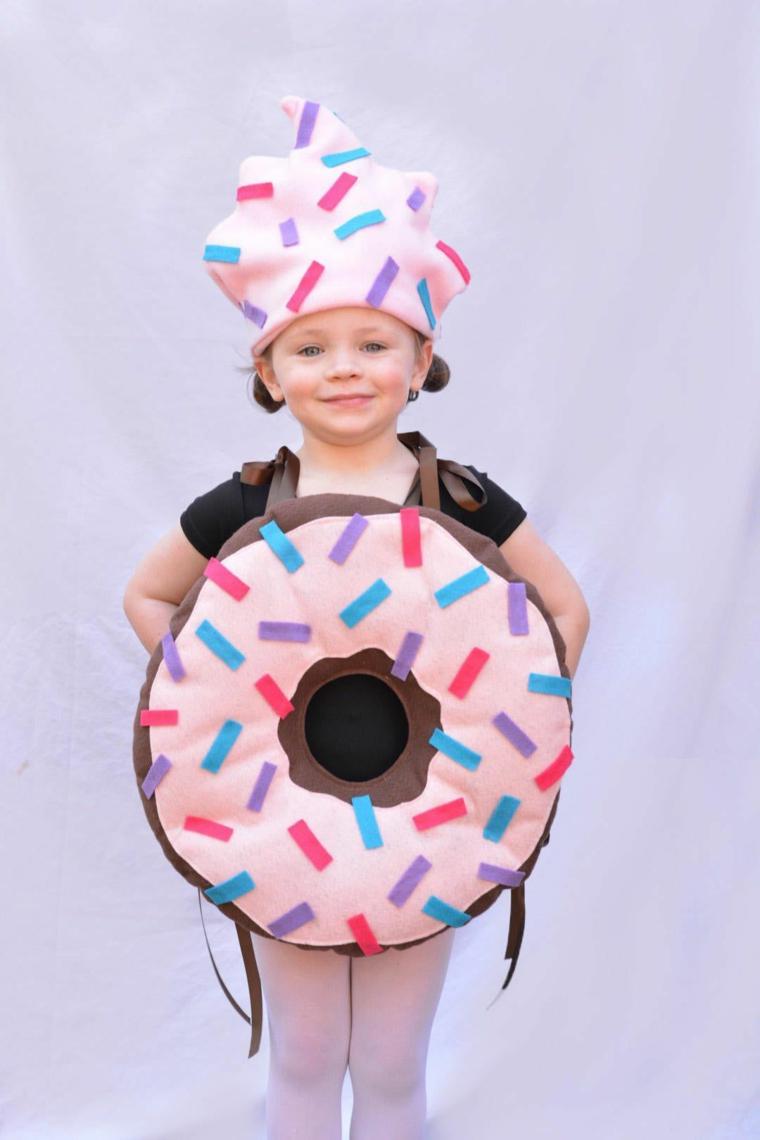 Costume bimba ciambella, bimba sorridente, travestimento bimba per Halloween