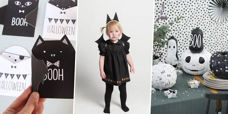 Cartoline per Halloween, bambina travestita costume pipistrello, zucche dipinte, lavoretti Halloween