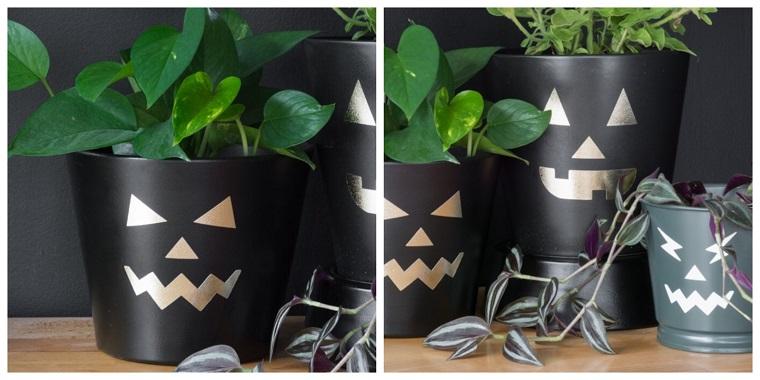 Vasi con piante, piante con foglie verdi, decorazione con sticker adesivi, allestimenti Halloween