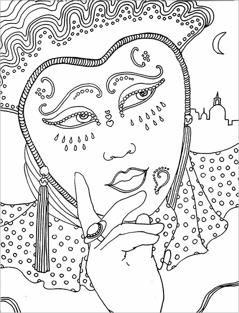 Lavoretti di carnevale per bambini scuola dell'infanzia, bautta da colorare, disegno di una donna