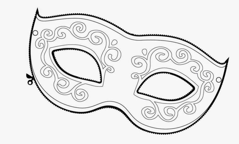 Maschera veneziana da colorare, lavoretti di carnevale, disegno con ornamenti