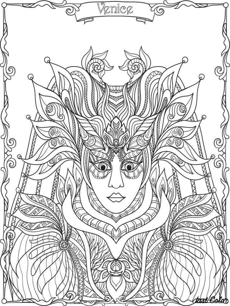 Immagini maschere di carnevale, maschera veneziana da colorare, disegno donna con bautta