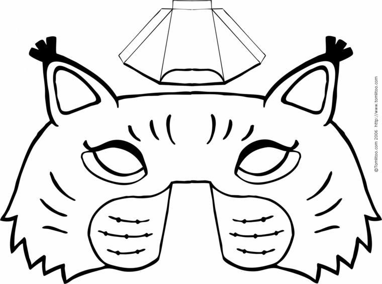 Maschere di carnevale da colorare, disegno maschera gatto, disegno da ritagliare e colorare