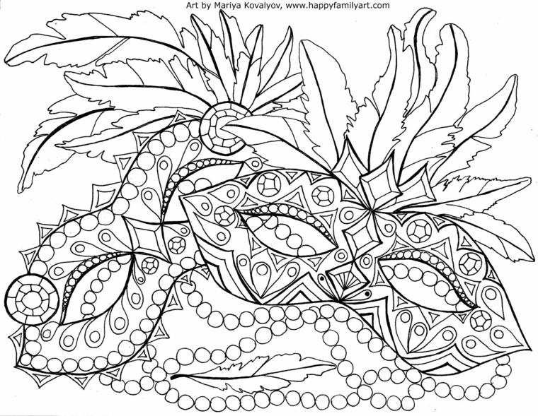 Lavoretti carnevale, tre maschere disegnare, bautta da colorare, disegno con forme geometriche