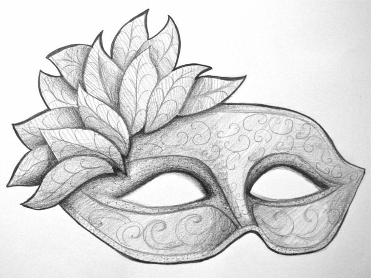 Bautta occhi da ritagliare, disegno a matita, disegni maschere di carnevale, disegno chiaro scuro a matita