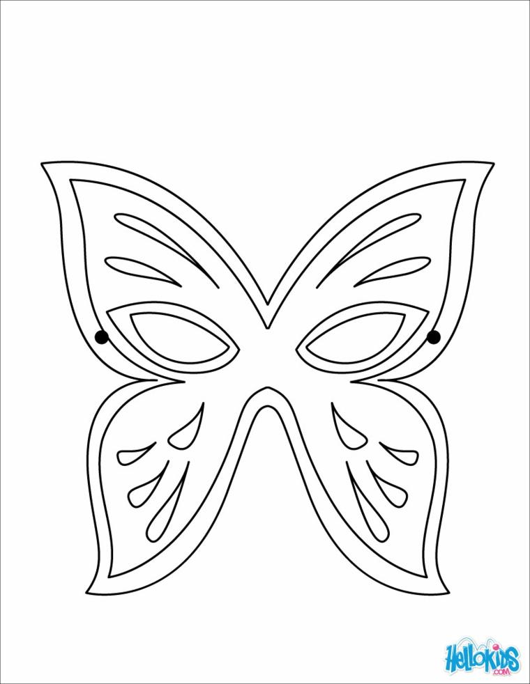 Disegno di una farfalla, maschere di carnevale da colorare, disegno a matita