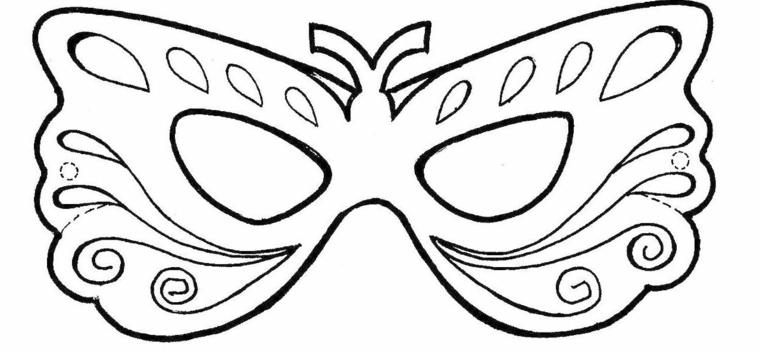 Lavoretti carnevale, maschera da ritagliare, disegno da colorare, disegno maschera farfalla