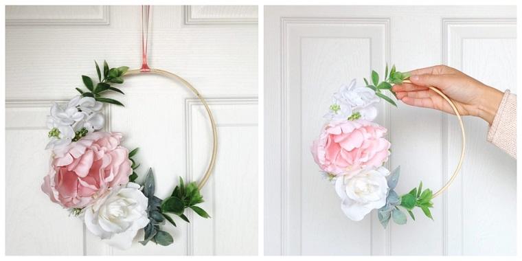 Anello di legno con fiori, decorazione da appendere, immagini foglie autunnali