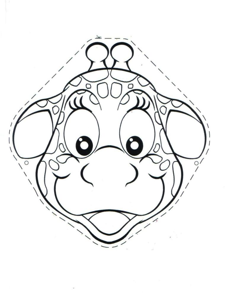 Maschere da colorare, disegno di una giraffa, maschera da ritagliare e colorare