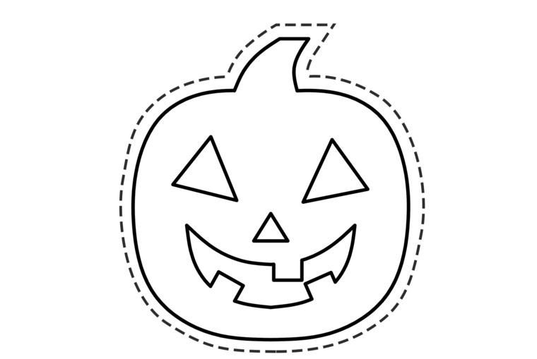 Maschera per Halloween, disegno zucca intagliata, disegno da ritagliare, lavoretti carnevale
