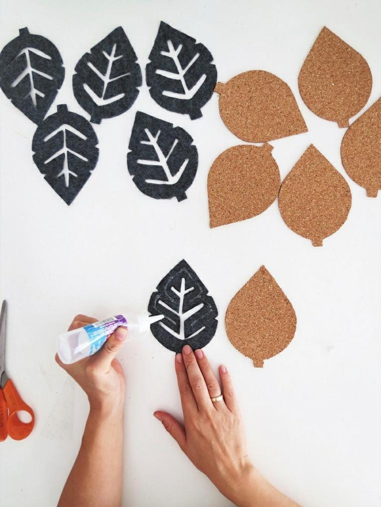 Lavoretti creativi autunno, foglie di feltro e sughero, tutorial per fare sottobicchieri