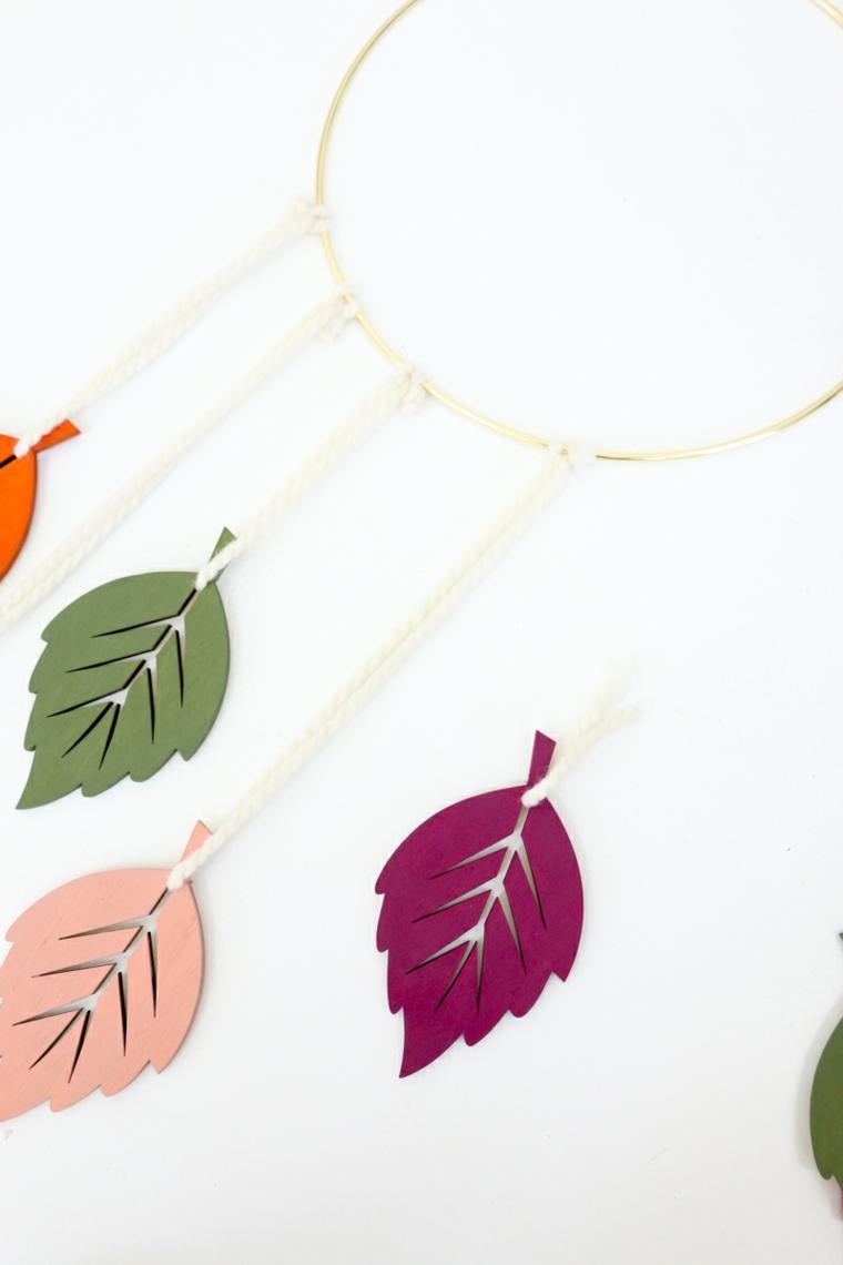 Addobbi autunnali, foglie di legno dipinte, decorazione da appendere, anello con fili appesi