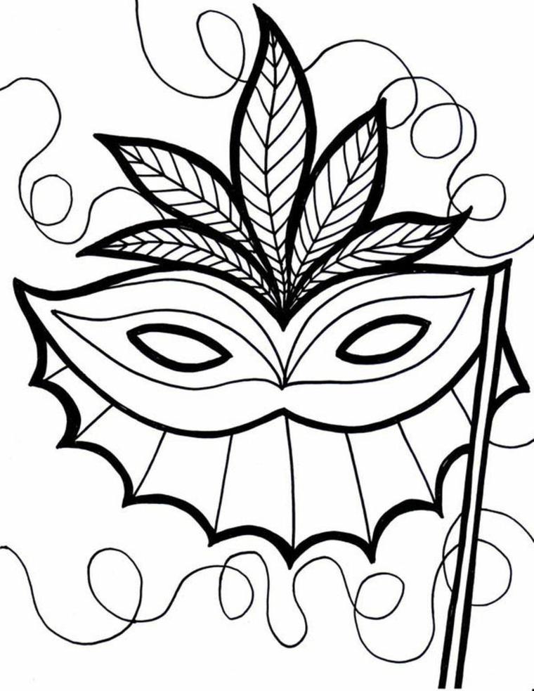 Maschera con foglie, bautta con bacchetta, maschere di carnevale da stampare