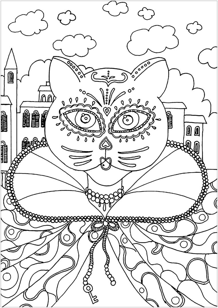Maschere da colorare, mascheramento di gatto, disegno da colorare, disegno con nuvole