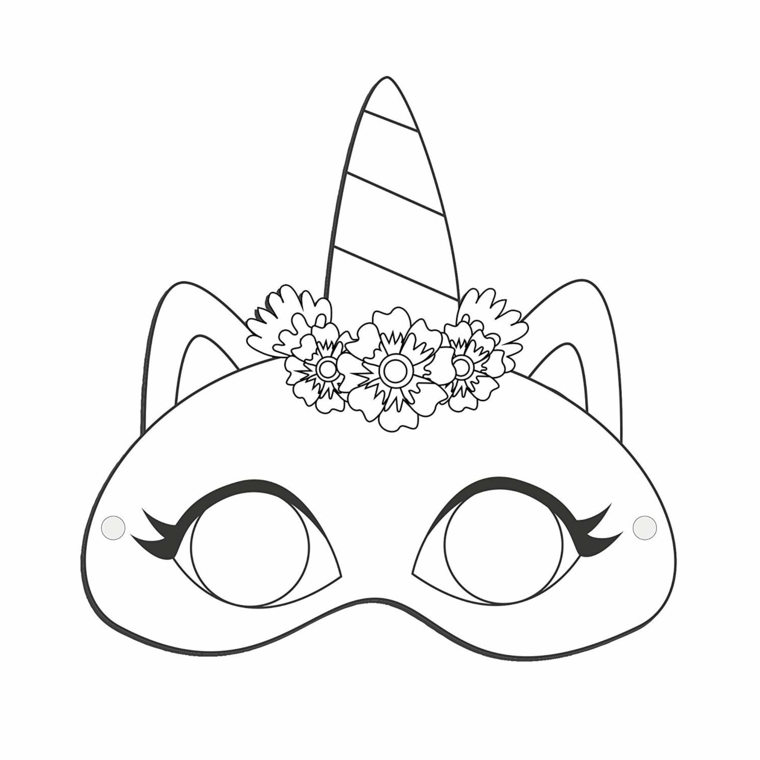 Maschera Gatto Da Colorare