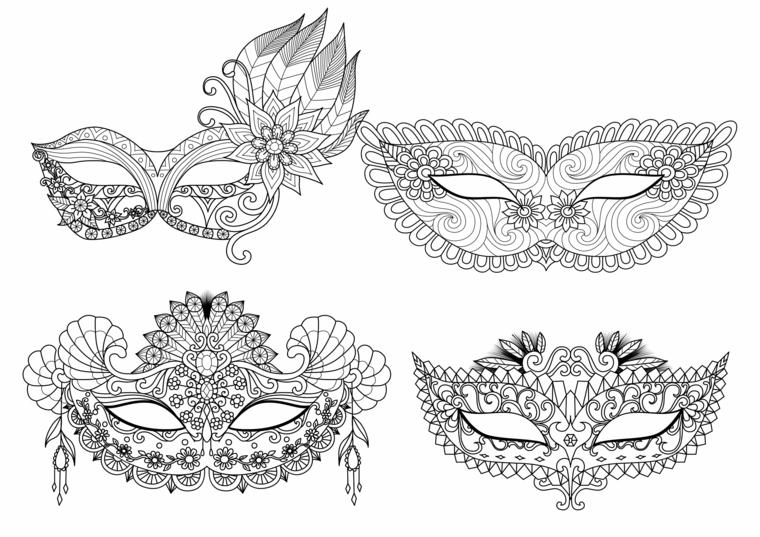 Maschere di carnevale da colorare, maschere con disegni mandala, disegni da colorare per bambini