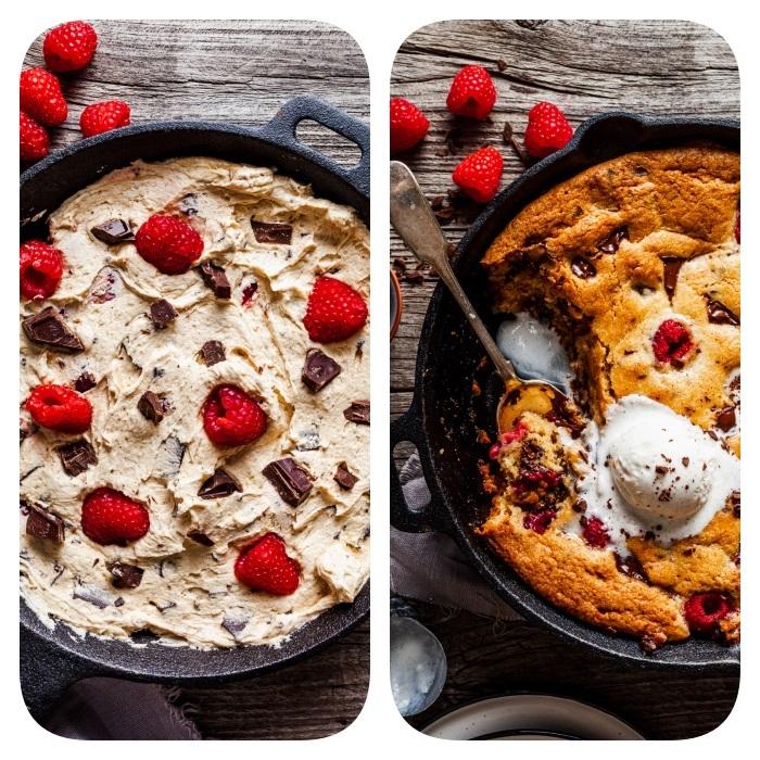 Torta con impasto per biscotti, torta con lamponi, pallina di gelato, dolce preparato al forno