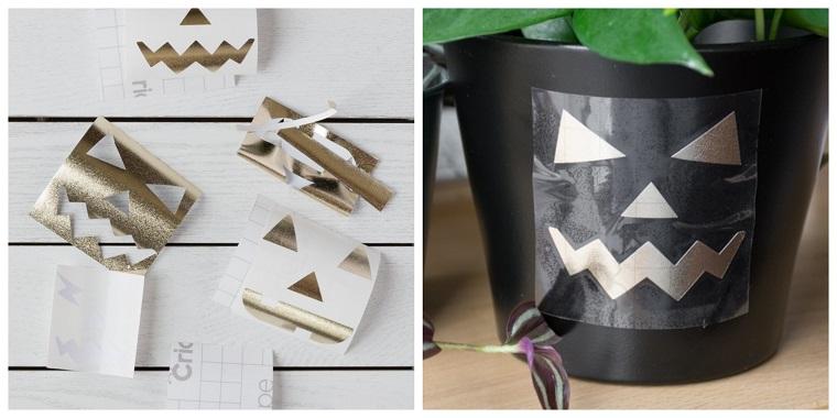 Sticker adesivi di Jack O'Lantern, vaso con pianta, allestimenti Halloween, pianta con foglie verdi