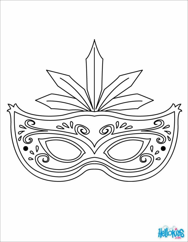Immagini maschere di carnevale, disegno da colorare, maschera con occhi da ritagliare