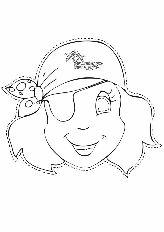 Maschera da pirata bimba, disegno da ritagliare, disegno da colorare, lavoretti carnevale