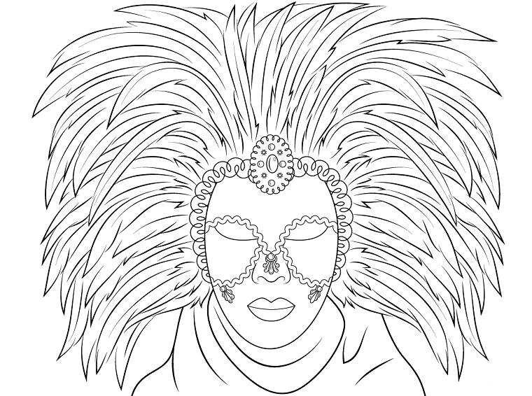 Maschere di carnevale da colorare, maschera veneziana da colorare, maschera con foglie