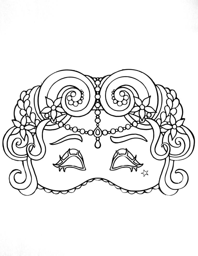 Mascheramento per bambini, disegni maschere di carnevale, maschera con fiorellini