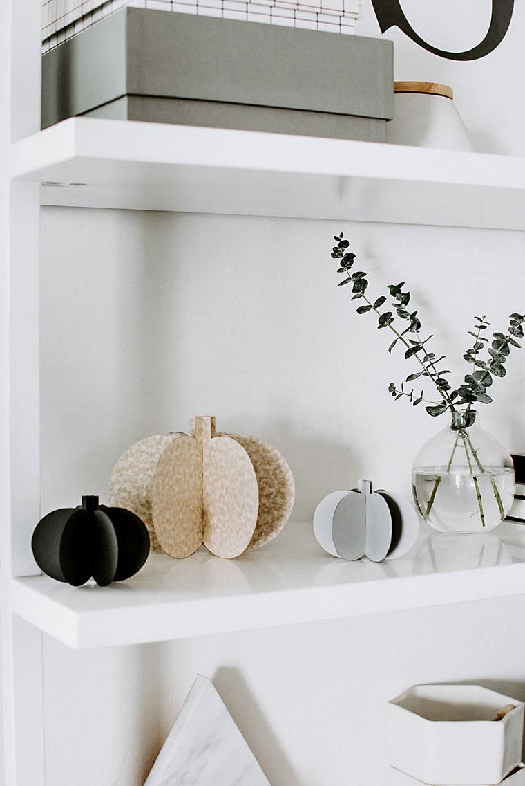 Addobbi di Halloween, mensole con decorazioni, zucche 3D di carta, vaso con rametti