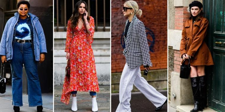 Donne con abiti autunnali, college di foto, donna con vestito rosso, pantalone jeans bianco