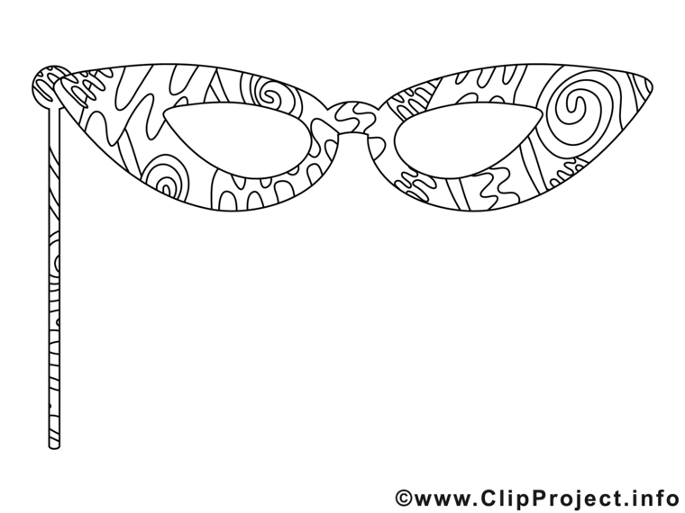 Disegno da colorare, maschere di carnevale da colorare, disegno con ornamenti