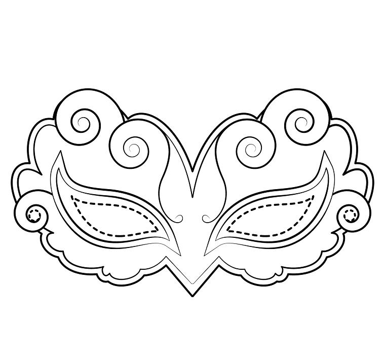 Mascherina da ritagliare, disegno con ornamenti a spirale, disegno da colorare, maschere da colorare