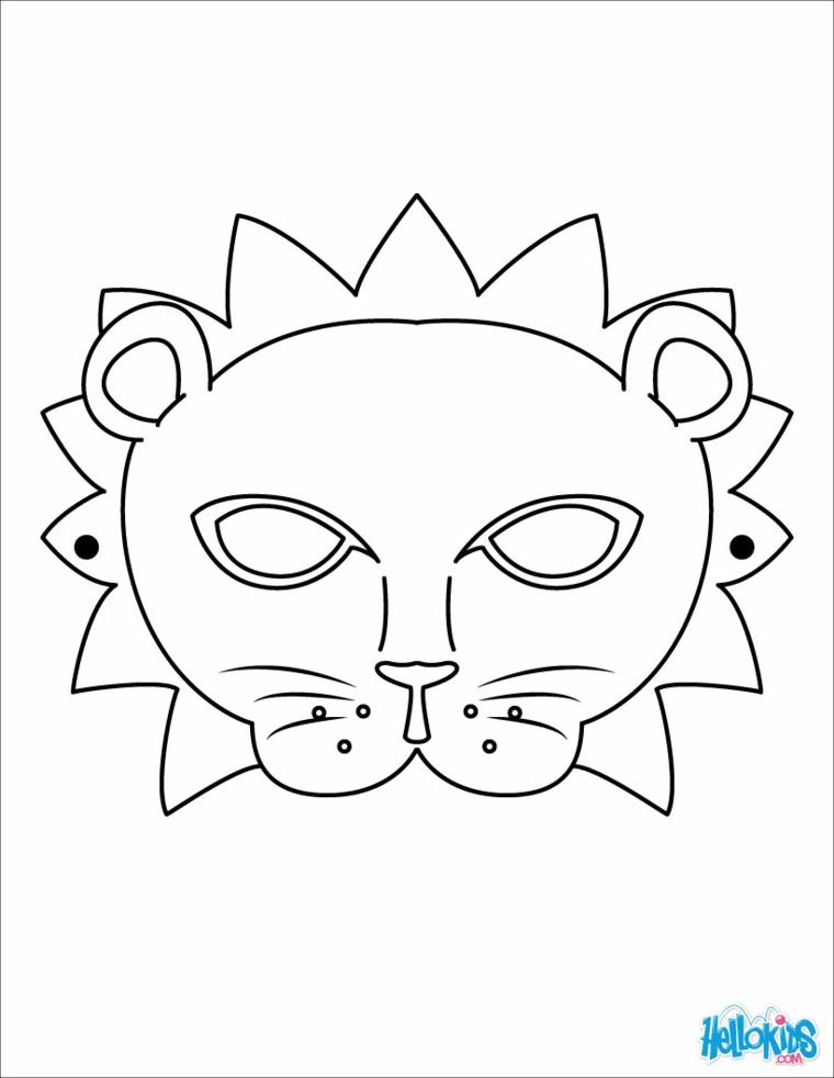 Travestimento carnevale da leone, disegno da colorare, maschera di un leone