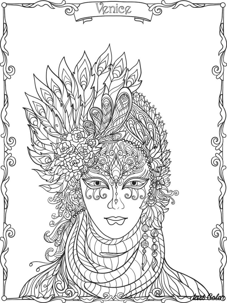 Mascheramento veneziano, maschere di carnevale da stampare, bautta da colorare