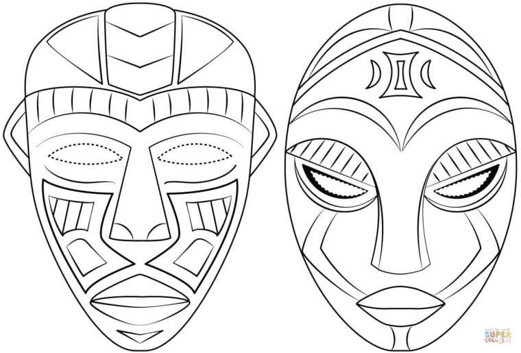 Disegno da colorare, due maschere africane, maschere per bambini carnevale