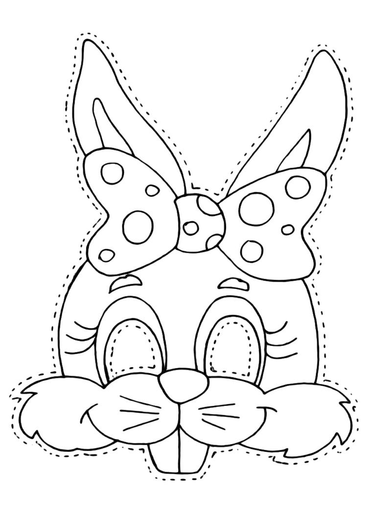 Disegno da ritagliare, schizzo da colorare, disegno coniglietto, disegni maschere di carnevale