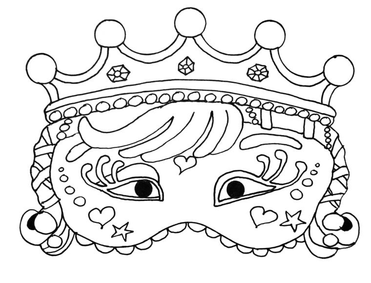Maschera per bambina, travestimento con mascherina, disegno da colorare, lavoretti carnevale