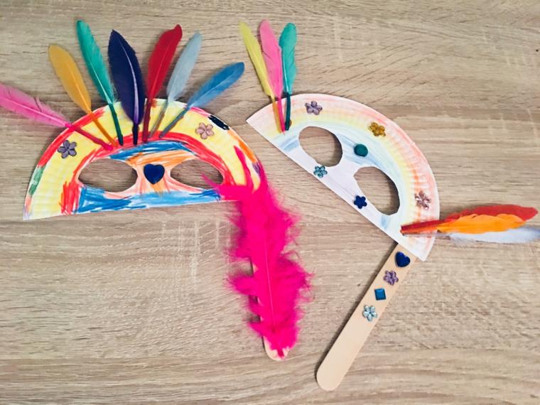 Maschere con piatti di carta, maschera con bastoncino di legno, maschere da colorare