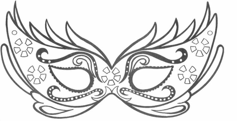 Lavoretti di carnevale per bambini scuola dell'infanzia, maschera con ornamenti, disegno da colorare
