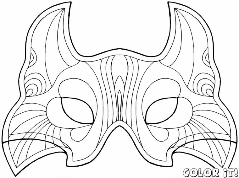 Lavoretti carnevale, maschera da ritagliare, mascheramento per bambini, disegno da colorare