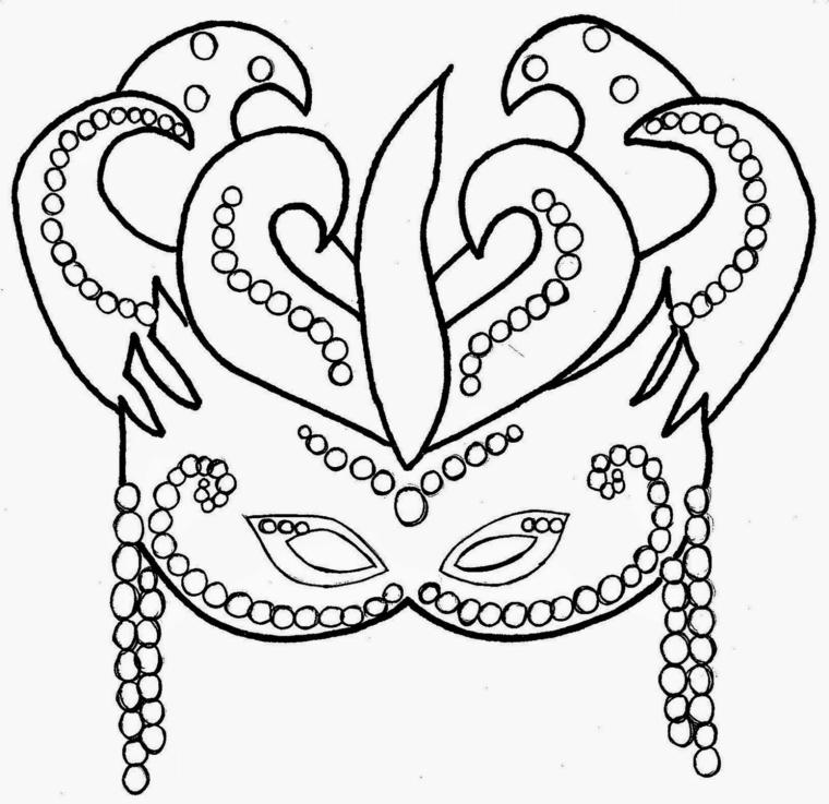 Disegni maschere di carnevale, maschera con palline, disegno da colorare