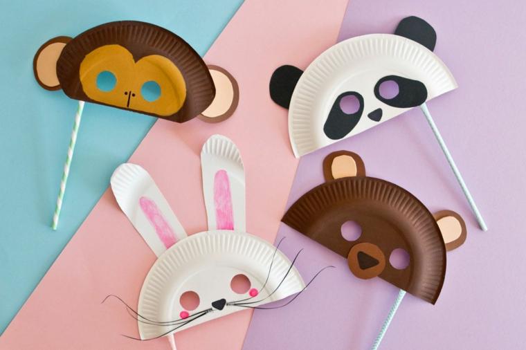 Lavoretti di carenvale per bambini scuola dell'infanzia, maschere con piatti di carta, maschere per bambini