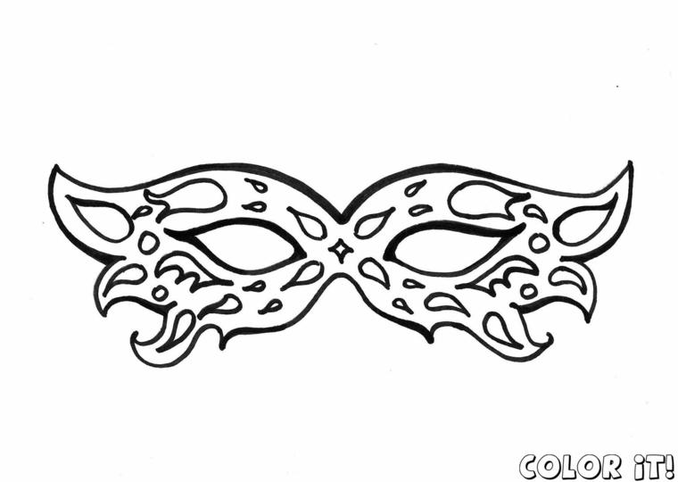 Disegno da colorare, lavoretti di carnevale per bambini scuola dell'infanzia, maschera per bimbo