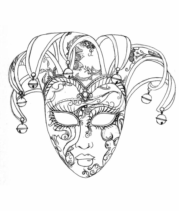 Maschere da colorare, mascheramento veneziano, maschera con cappello, occhi da ritagliare