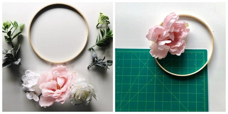 Fiori e foglie finte, anelli di legno, fiori fissati su un anello, lavoretti creativi autunno
