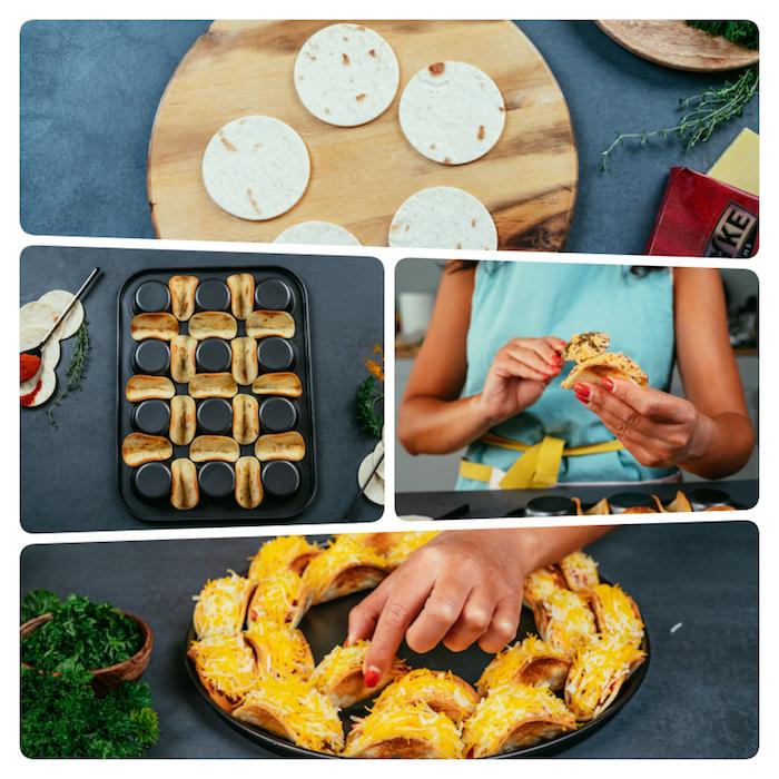 Come si preparano le tortillas messicane, teglia da muffin rovesciata, ripieno per tacos